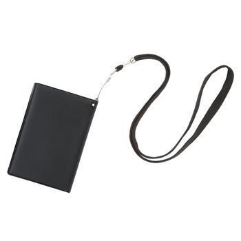 旅行用品 | スキミング防止パスカバー ネックストラップ付ブラック【T46131】