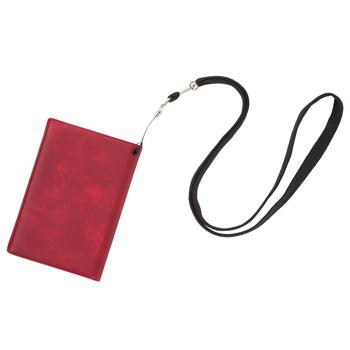 旅行用品 | スキミング防止パスカバー ネックストラップ付レッド【T46132】