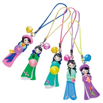 ベトナムお土産 | アオザイ人形ストラップ 5個セット【186045】