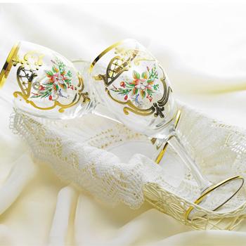 イタリアお土産 | ベネチアン ワイングラスペア クリア 2脚セット 【161107】