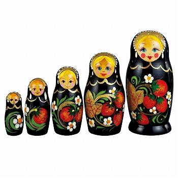 ロシアお土産   ロシア伝統ホフロマ塗り柄 マトリョーシカ 5人組【171260】