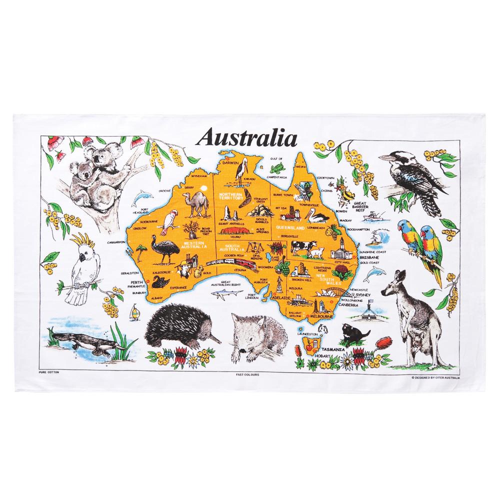 オーストラリアお土産 | オーストラリア マップティータオル【175048】