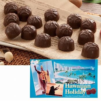 ハワイお土産 | ハワイアンホリデー マカデミアナッツ チョコレート ドルフィン紙袋付き 1箱【173001】