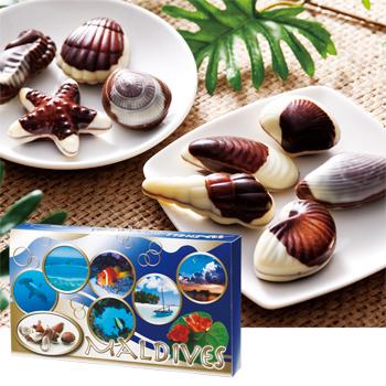 モルディブお土産 | モルディブ シーシェルチョコレート ドルフィン紙袋付き 1箱【174039】