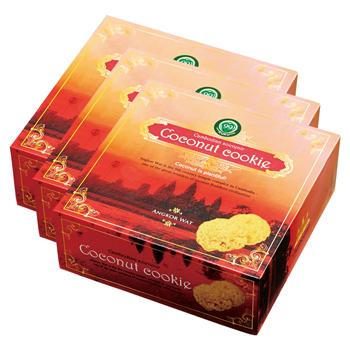 カンボジアお土産 | アンコールワット ココナッツクッキー 3箱セット【176120】