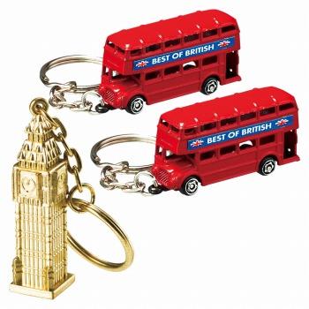 イギリスお土産 | ロンドンバス&ビッグベン キーホルダー 3個セット【171154】