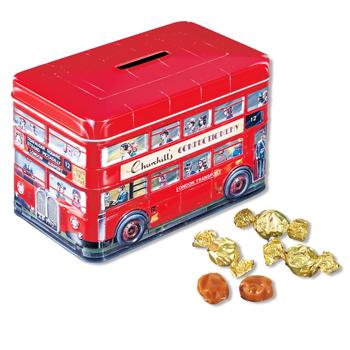 イギリスお土産 | チャーチル(Churchill's) ロンドンバス缶入りクリームトフィ【171137】