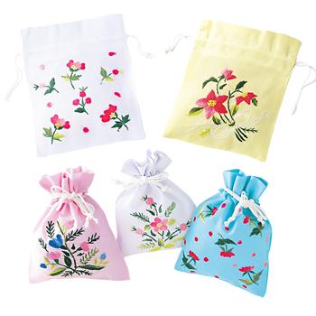 ベトナムお土産 | ベトナム刺しゅう 巾着袋 5枚セット【186041】