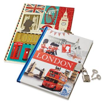 イギリスお土産 | ロンドン ロック付きノートブック 3冊セット【171413】