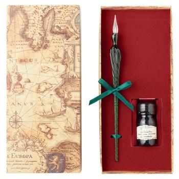 イタリアお土産 | ガラスペン&香り付きインクセット 【181041】