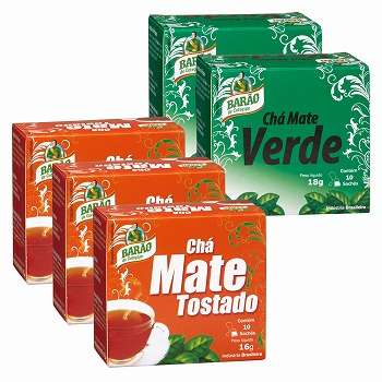 ブラジルお土産 | BARAO マテ茶 2種5箱セット (ロースト&グリーン)【182135】