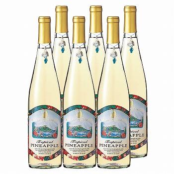 アメリカ・ハワイ・グアム・サイパンお土産 | パイナップルワイン フルーツワイン チャーム付き やや甘口 6本セット【R83007】