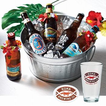ハワイお土産 | コナビールグラス&コースター付き パラダイスビール5種セット【R83004】
