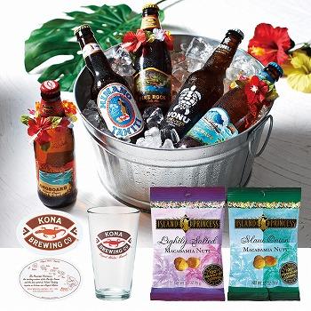 ハワイお土産 | パラダイスビール5種&グラス・コースター+アイランドプリンセス マカデミアナッツ 2種セット【R83005】