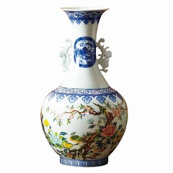 中国お土産 | 景徳鎮 花瓶(花鳥) [別送][代引不可][翌日配送不可]【177144】