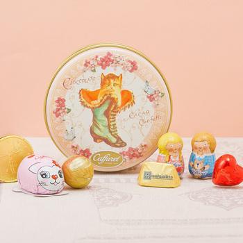 [カファレル] チョコラティーノ缶(ピンク) ネコ チョコレート 袋付き 【105474】