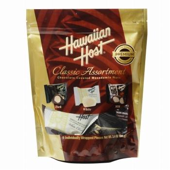 ハワイお土産 | ハワイアンホースト マカデミアナッツチョコレート クラシックアソートメント スタンドアップバッグ(ミルク・ダーク・ホワイト)【105545】